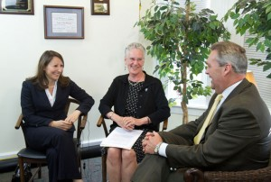 "State representatives Rosa Rebimbas (R-70), left, and Deputy Speaker Elizabeth Ritter (D-38) talk with ""Then and Now"" host and former Speaker of the House of Representatives James Amann recently during a taping of a special AccessTV.org report on the issue of human and sex trafficking. –CONTRIBUTED"