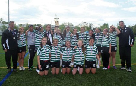 The PSC Dynamo, a Premier Soccer Club of Prospect, wrapped up a successful 2012-13 season in its Connecticut Junior Soccer Association and Region 1 competitions. Girls Team 98 U15 (pictured) and Team 99 U14 finished undefeated and first in their leagues league. The teams made it to the championship games in their league earning one championship between them. The teams participated in a number of tournaments, including the Seaside Classic, University of Rhode Island College Showcase, Guilford Summer Classic and TWIST. Teams 98 and 99 are currently ranked by gotsoccer in the top 10 of Connecticut premier girls teams. For more information, visit www.pscdynamo.com. -CONTRIBUTED