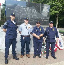 Naugatuck Fire Police members, from left, FP AJ Bordas, Probation Officer Jay Markey, 2nd Lt. Ted Napol and 1st Lt. John Deer pose in front of the Firefighter's Memorial at the Connecticut Fire Academy in Windsor Locks during the annual memorial service to honor fallen firefighters Sept. 29. Every year, Fire Police members across the state are asked to assist with the event. Naugatuck's Fire Police requested the honor this year and received approval from the Fire Commission to assist in the service. –CONTRIBUTED