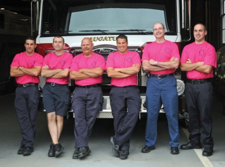 Naugatuck firefighters wore pink T-shirts throughout October to raise awareness and funds for National Breast Cancer Awareness Month. Firefighters donated money to wear the T-shirts and the money will be donated to the Harold Leever Cancer Center in Waterbury. Pictured, firefighters Greg McKirryher, Jason Seaman, Bob Ragauskus, Todd Gallino, Capt. Vincent Healy and Don Scarpetti. –LUKE MARSHALL