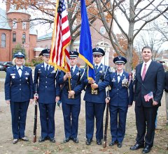 Members of Naugatuck High School's Junior ROTC, from left, Lt. Colonel Valerie Lofland, Brody Hale, Vice Corps Commander Josh Bierly, Alex Triscritti and Corps Commander Kait Barry pose for a picture with Naugatuck Mayor Robert Mezzo, right, on the Town Green following the borough's annual Veterans Day parade and ceremony. –CONTRIBUTED