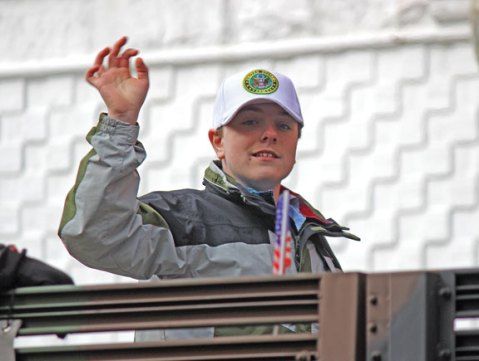 Kyle Harris, a student at Naugatuck High School, participated in the state's Veterans Parade in Hartford Nov. 3. Harris is the son of Mary Harris, a U.S. Army veteran and member of American Legion Post 17.-CONTRIBUTED