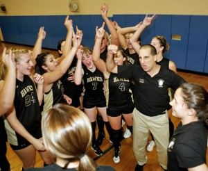 Woodland volleyball coach Jim Amato, pictured from 2009, has won three Naugatuck Valley League championships, five NVL division titles and a state championship since 2007. –RA ARCHIVE