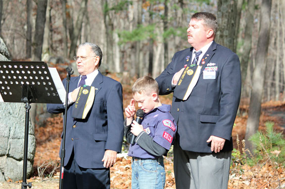 The towns of Naugatuck, Beacon Falls and Prospect honored veterans during separate ceremonies on Veterans Day Nov. 11. The ceremony in Beacon Falls was followed by a U.S. Flag retirement ceremony organized by Eagle Scouts James Giacomazzi, of Prospect, and Andrew O'Dell, of Beacon Falls. –STAFF PHOTO