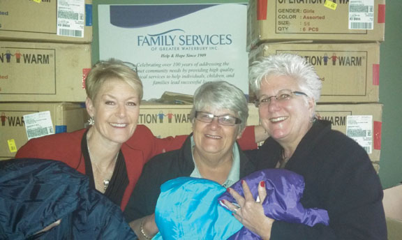 From left, member of the Naugatuck Rotary Club's Board of Directors Laurie Yelding, Naugatuck Rotary Club President Jeanine LaVasseur and Family Services of Greater Waterbury Executive Director Sandy Porteus pose for a picture holding coats donated to the organization by the club. The Rotary Club delivered over 75 new children's coats to Family Services of Greater Waterbury Nov. 7. In partnership with Operation Warm, the club hopes a new winter coat will bring pride to children and relief for struggling families in the Waterbury area. 'We are extremely grateful for The Rotary Club of Naugatuck's donation. A new coat means so much to an impoverished child and allows families to focus their limited financial resources on other basic needs like food and shelter,' said Porteus, in a press release. For more information, visit www.familyservicesgw.org or call (203) 756-8317. –CONTRIBUTED