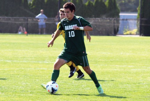 Former Woodland standout Tyler Carlos, a sophomore midfielder at Babson College, earned a spot on the All-NEWMAC Second Team in the fall. –BABSON COLLEGE