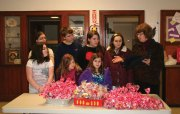 Members of the Charles Merriman Society, Children of the American Revolution (C.A.R.) taking part in the Trumbull-Porter Chapter Daughters of the American Revolution (DAR) Valentines for Veterans workshop Jan. 11 at Salem Lutheran Church in Naugatuck were surprised with a national Youth Activities Award. The award recognized the group's support of the military in 2013-14. Pictured, Phyllis Schaar, right, of the Ladies Auxiliary to the VFW Post 7330 in Oakville presents the award to C.A.R. members, back row from left, Lauren Burger of Naugatuck, Alec Marshall and Liza Marshall of Watertown and Caileigh Murray of New Caanan; front row from left, Londyn Burger of Naugatuck, Anna Nichols and Molly Nichols, both of Prospect. –CONTRIBUTED