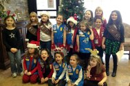 Girl Scout Troops 64518, 67067, and 64140 from Naugatuck spread some holiday cheer at Shady Knoll Health Center in Seymour Dec. 20 by singing Christmas Carols for the residents. –CONTRIBUTED