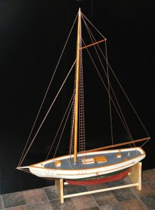 A $1,000 reward is being offered for information on the theft of this wooden replica of a boat from the Mounds Flea Fleet that was stolen from the Naugatuck Historical Society in November. –CONTRIBUTED