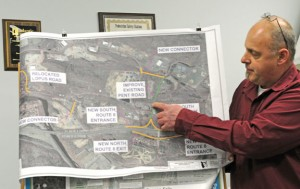 Beacon Falls Planning and Zoning Commission Vice Chairman Joe Fitzpatrick points out possible improvements to the town's roads if new on-ramps and exit ramps are put on Route 8 during the Board of Selectmen meeting Jan. 13. Fitzpatrick presented the idea, which is in its preliminary stages, to seek the board's support. –LUKE MARSHALL