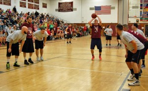 Naugatuck High graduate Keith Rado takes a free throw for the Old School Jan. 4 during the first Josh Ruccio Scholarship basketball game at the high school. –KEN MORSE