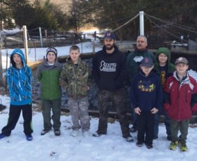 Cub Scouts from the Webelo II group from Prospect recently visited the fish hatchery in Burlington to earn their Wildlife Badge. The boys learned about how lakes, rivers, and ponds are stocked and got to see an eagle in a tree waiting to get a fish. Pictured, from left, Webelos Aidan Woodsworth, Joseph DeDominco, Albert Marchant, Jamie Hays of the fish hatchery, Den Leader Anthony Santovasi, Nicholas Santovasi, Josh Pavlik and Zachary Telesca. –CONTRIBUTED