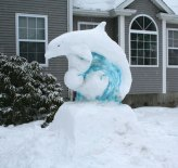 Starlin Getts and her family created this snow sculpture of a dolphin at their home at 46 Hockanum Glen Road in Beacon Falls during a recent snowstorm. –CONTRIBUTED