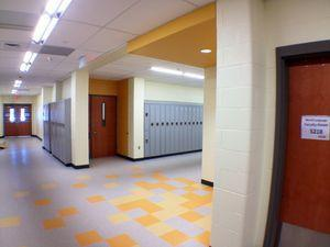 Students were in new classrooms that are being renovated at Naugatuck High School as part of an $81 million project for the first time on Monday. This is a hallway in the south wing of the school. –RA ARCHIVE
