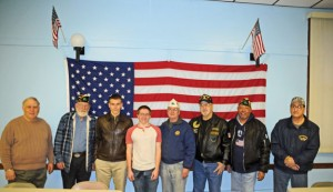 From left, veterans Mike DeVivo, Tom Honyotski, Naugatuck High junior Greg Marquardt, Naugatuck High junior, veterans Ryan Russett, Ron Fischer, Bob Genovese, Frank Edmonds and Phil Arcuri pose for a picture Feb. 20 at the American Legion Post 17 in Naugatuck. Marquardt and Russett are putting on a ziti dinner to raise money for the American Legion and Veterans of Foreign Wars Post 1946. –LUKE MARSHALL
