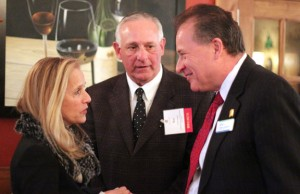From left, state Sen. Joan Hartley (D-15), Naugatuck Economic Development Corporation CEO Ron Pugliese and Ion Bank President and CEO Charles Boulier III talk following the Naugatuck Chamber of Commerce's legislative breakfast March 13 at Jesse Camille's Restaurant. –ELIO GUGLIOTTI