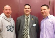 David Rotatori, center, on behalf of the Board of Directors of the United Way of Naugatuck and Beacon Falls presented Van Allen Medals to YMCA Little Pal basketball coaches Rick Pelliccia, left, and John Pruchnicki Feb. 27 at Hillside Intermediate School. The medal, which is named after the founding members of the United Way Robert and Anna Lee Van Allen, was created in 2007 to honor the Van Allens and recognize people for extraordinary service to the community. This season was the last for Pelliccia and Pruchnicki with the Iittle Pal basketball program. Pelliccia started coaching when he was about 20 years old. In that time, he has coached baseball for 11 years, softball for 12 and basketball for 12 years. He was also heavily involved as an officer with local leagues. Pruchnicki is an owner and president and CEO of Coastal Carriers. Over the past 25 years, he has found the time to volunteer countless hours for several different organizations. He has served about 10 years on the Naugatuck Hall of Fame committee; is vice chairperson of the Naugatuck Education Foundation; coached T-ball for Peter J. Foley Little League and basketball for more than 10 years, both at the Friday night league and Little Pal. -CONTRIBUTED