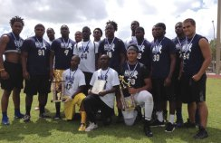 Naugatuck resident and Kingswood Oxford running back Sharrieff Grice (on knee, furthest to right) attended the National Underclassmen Football Combine on March 16 in Miami, Fla., where he was awarded the 2014 Miami MVP Award. The award earned Grice an invitation to participate in the U100 Top Prospect Elite Event this coming summer. Last fall as a junior, Grice rushed for 840 yards and 11 touchdowns for Kingswood Oxford. He is being recruited by a number of Division I universities and will be making his first visits this spring. -CONTRIBUTED
