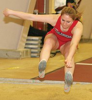 Woodland Regional High School graduate and Prospect resident Ashley Riley, a sophomore at Muhlenberg College in Allentown, Pa., finished eighth in the long jump, clearing 15-7¾, at the Centennial Conference Indoor Championships. It was her first career place at the conference meet. Muhlenberg finished fourth at the championships. –COURTESY OF MUHLENBERG COLLEGE