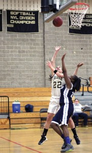 Woodland senior Andrea Piccolo (22) averaged 12.1 points per game this season for the Hawks, which was good enough for ninth-best in the Naugatuck Valley League. Woodland missed out on the postseason after finishing 6-10. However, a late-season surge has head coach Jess Moffo already excited about next year. –FILE PHOTO