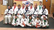 Karate students from Prospect, Naugatuck and Beacon Falls were among those promoted during a testing March 31 at Pereira's Academy of Karate in Bethany. -CONTRIBUTED