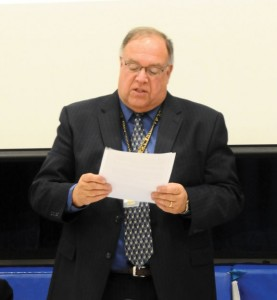 Region 16 Superintendent of Schools Tim James presents the proposed 2014-15 budget during a public hearing April 8 at Long River Middle School in Prospect. –LUKE MARSHALL
