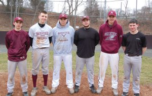 Naugatuck High seniors, from left, Kyle Plasky, John Dean, Adam Tavares, Kevin Mariano, Rick Plasky and Matt Giglio will lead the Greyhounds as they seek to reclaim their spot among the top teams in the NVL. –KEN MORSE