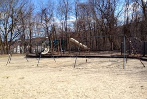 A 30-year-old man who fell off this swing set at Western Elementary School in 2007 is suing the borough for not properly maintaining it. Naugatuck is now making changes at school playgrounds based due in part to his claim. –RA ARCHIVE