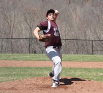 Naugatuck's Spencer Dreher delivers a pitch April 17 versus Woodland in Beacon Falls. Dreher pitched four scoreless innings for the Greyhounds and went 3-for-3 day at the plate. The Greyhounds won the game, 6-1. –ELIO GUGLIOTTI