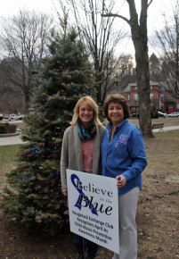 Naugatuck Exchange Club President-elect Kathy Lengyel, left, and President Nancy Barton stand on the Naugatuck Town Green April 1 in front of a tree that has been adorned with blue lights. The tree was lit to raise awareness about child abuse for the club's Believe in the Blue campaign. The campaign will run throughout the entire month of April. In addition to raising awareness, the club works with the community to help promote positive parenting and strong families, Barton said. –LUKE MARSHALL