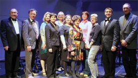 From left, Gary Partridge, Robert Trosan, Jennifer Kruge, Lisa Pettinichi, Joan Doback, Kathy Dravis, Alice Unschuld, Cathy Lungarini, Michele Beck, Robert Hughes and Rolf Anderson pose for a picture following the 33rd Annual Borough Music Festival April 25 at Naugatuck High School. The all-school concert included music ensembles comprising students from the elementary, intermediate, middle and high schools. This year's concert featured the music of Leroy Anderson, a well-known American composer of short, light concert pieces. The guest conductor was Gary Partridge, conductor of the Capitol Symphonic Winds and the Hartford Symphony Pops. The concert marked the culmination of collaboration between the Leroy Anderson Foundation and the Naugatuck Education Foundation over this school year which was championed by Naugatuck High School Band Director Robert Hughes and coordinated through the music department to all Naugatuck schools. All levels of music classes have learned about the life and work of Anderson and the instrumental students have been exposed to and learned several of his pieces. In April, musicians from the Waterbury Symphony Orchestra provided advanced-level music classes to students of brass and wind instruments. Joan Doback from the NEF said, 'The Naugatuck Education Foundation is thrilled to have been a part of this initiative, and through it we have touched every child in the Naugatuck public schools.' –CONTRIBUTED