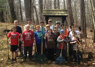 Boy Scouts from Troop 102 in Naugatuck, from left, (in front) Robert Fanzutti, Ryan Vincent, Nicholas Liaton, Brady Moore, Avery Moore, Casey Moore (middle) Nate Gairing, Josh Barbosa, Jeffrey Bonnardi Landon Sarno (back) CJ Werner, Trevor Aresta, John Lauer, Ethan Maxwell, Nick Hanks and Javon Brady participated in a 'Good Turn Weekend' April 11 to April 13 at White Memorial Conservation Center in Litchfield. The scouts spent much of the weekend raking, picking up trash and preparing camping areas at the center. The troop has been holding the annual spring cleanup campout for 35 years. For more information, visit www.troop102ct.com. –CONTRIBUTED
