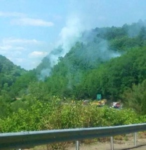 Smoke rises through the trees of the Naugatuck State Forest along Route 8 near the Naugatuck and Beacon Falls line as firefighters battle a brush fire Sunday afternoon. The fire appears to be suspicious, officials said. –CONTRIBUTED