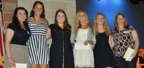 Recipients of the Woodland PTO Scholarship, from left, Woodland Regional High School seniors Taline Agamy, Hope Gavigan, Anna Boris, Allison Noble and Casey Stevens with PTO President Dawn Stevens during the annual Senior Scholarship Night June 12. –CONTRIBUTED