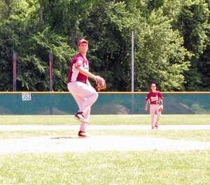 Post 17's Spencer Dreher pitches June 21 versus Waterbury at Municipal Stadium. Naugatuck fell to Waterbury, 10-0. –KEN MORSE