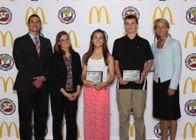 City Hill Middle School students Sarah Viele and Matthew Pimpinelli (holding certificates) were honored June 8 as the state's top Scholar Leaders at the 2014 Connecticut Association of Schools (CAS) Scholar Leader Banquet in Southington. –CONTRIBUTED