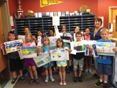 Brenda Bass from All Star Transportation recently visited Laurel Ledge School in Beacon Falls to present awards to the winners of the annual bus safety contest. –CONTRIBUTED