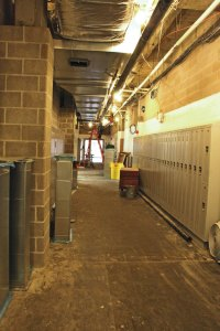 A hallway at Naugatuck High School is undergoing significant work as part of the $81 million renovation project. –LUKE MARSHALL