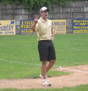 Coach Chris Anderson has traded the football sidelines for the third base box. –RA ARCHIVE