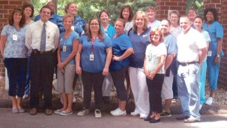 Staff of Beacon Brook Health Center in Naugatuck wear blue in support of Men's Health Men in June. –CONTRIBUTED