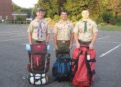 From left, JD Dyckman of Prospect, Andy O'Dell of Beacon Falls and Dan Leclerc of Prospect participated in the Order of the Arrow Trail Crew high adventure trip July 13. The program was a 14-day experience on the trails of Philmont Scout Ranch in New Mexico. The first week focused on trail construction and maintenance, and the second week was a backpacking trek designed by the participants. The three scouts are members of OA-Tschitani Lodge No. 10, Connecticut Rivers Council. –CONTRIBUTED
