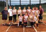 Naugatuck 1 won the Joan Joyce Softball League this season going a perfect 14-0. The title is the team's fourth in the past seven seasons. Pictured, kneeling from left, Jasmine Thorpe, Sara Marques, Jackie Aronin and Julia Pelliccia. Standing from left, coach Steve Litke, manager Rick Pelliccia, Molly Kennedy, Maddie Jensen (MVP), Gretchen Hale, Sydney Cotto, Gillian Fortier, coach Leigh Aronin, Alex Langhans and coach Mike DiMaria. Missing from the picture are Becca Anderson, Taya Diaz and Jenna Massicotte. –CONTRIBUTED