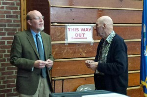 State Sen. Joe Markley (R-16), left, talks with a poll worker after voting Tuesday at Derynoski Elementary School in Southington. Markley defeated Working Families challenger Christopher Robertson to win his third straight term in office. –RA ARCHIVE