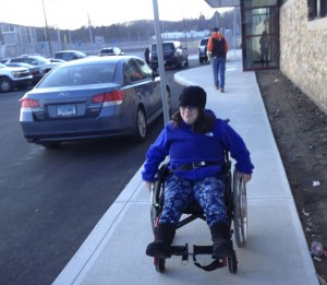 Emily Bottinick of Naugatuck, a senior at Naugatuck High School, believes handicapped accessibility at the newly renovated school could have been more convenient for people in wheelchairs. She said she wants to help people who use wheelchairs who will come to the school after she is gone. –REPUBLICAN-AMERICAN