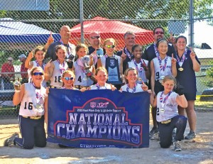 The Valley Fusion 10U softball team won the Amateur Softball Association Eastern National Championship Aug. 2 in Stratford. Pictured, bottom row from left, Cassidy Doiron, Kylie Bulinski, Riley Kane, Rory Nolan, Karla Carangelo; middle row from left, Rose Reitmeyer, Sam Mullin, Sophia Audi, Sammie Sosnovich, Lauryn Ramalho, Meagan Leung; back from left, coaches Bobby Bulinski, Rich Sosnovich, Peter Calandro, Chris Doiron and Kelly Kane. –CONTRIBUTED