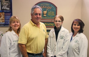 Beacon Falls Pharmacy celebrated its 10th anniversary on Nov. 5. Pictured, from left, Beacon Falls Pharmacy co-owner and pharmacist Marion Bradley, co-owner Robert Bradley, pharmacy technician Amanda Keenan and pharmacy technician Dawn Rasinski. –LUKE MARSHALL