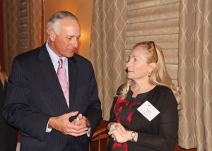 Naugatuck Economic Development Corporation President and CEO Ron Pugliese, left, talks with Yvette Wilmot, a member of the Naugatuck Economic Development Corporation Board of Directors, during the corporation's 12th annual meeting Tuesday at Jesse Camille's Restaurant. –LUKE MARSHALL