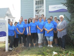 Members of Webster Bank's internal audit department spent a day in late September helping out at Family Services of Greater Waterbury's Naugatuck location on Hillside Avenue. The volunteers divided into two teams to tackle chores, including landscaping, painting and steam-cleaning rugs. Pictured, Kimberly Anderson, Kara Williams, Greg Mazzella, Naomi Reiss, Nicole Henn, Heather Laberinto, Christopher Prentiss, Nicole Wight, Kathryn Goodrich, Ryan Fenton, Deb Dunne, Jayne Brightman, Danielle Fernald, Mary Nunez, Kenneth Plante, James Rinaldi, Parag Santhosh, Shelley Steadman, and Executive Director of Family Services of Greater Waterbury Sandy Porteus. –CONTRIBUTED