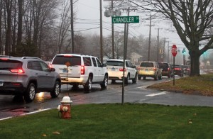 Cars backed up on Waterbury Road in Prospect last week block the intersection of Chandler Drive. Under a new ordinance, blocking the intersection could result in a fine. –LUKE MARSHALL