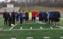 Naugatuck High School alumni played the 8th annual alumni soccer match Nov. 28 at the high school. –CONTRIBUTED
